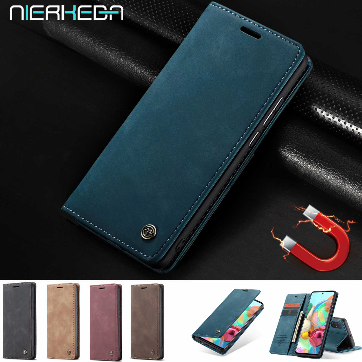 A71 Flip Leather Case Voor Samsung A51 A81 A91 A50 A70 A30 S A40 A20 A10 S20 Ultra S10 S9 s8 Note10 Plus 9 Lite Card Wallet Cover