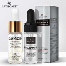 Artiscare nicotinamida + 24k ouro seis peptides soro 2 pçs hidratante & anti rugas cuidados com a pele clareamento e anti envelhecimento essência