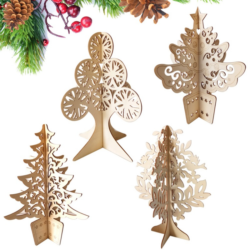 Kerstboom Houten Craft Diy Montage 3D Hollow Desktop Ornamenten Kids Gift Kerst Decoratie Voor Thuis Kerst Decoratie