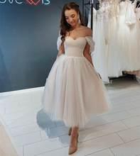 Kısa düğün elbisesi 2021 kapalı omuz ayak bileği uzunluğu noktası Net gelin kıyafeti için muhteşem kadınlar gelinler tül Robe De Mariee zarif