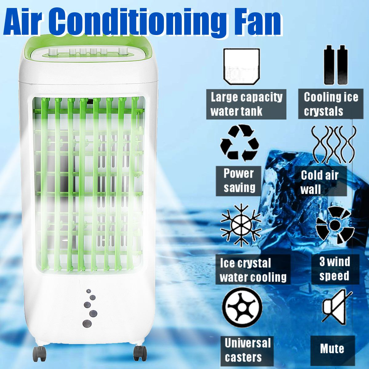 6L 220V 65W Tank Home Water Mobile Portable Air Conditioner Conditioning Fan Humidifier Cooler Cooling Timer +2 Ice Crystal