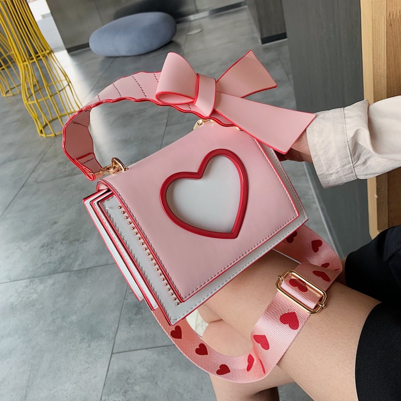 2019 Sweet Ladies' Summer Square Sling Bag Western Style Heart Hollow Out Chain Shoulder WOMEN'S Bag