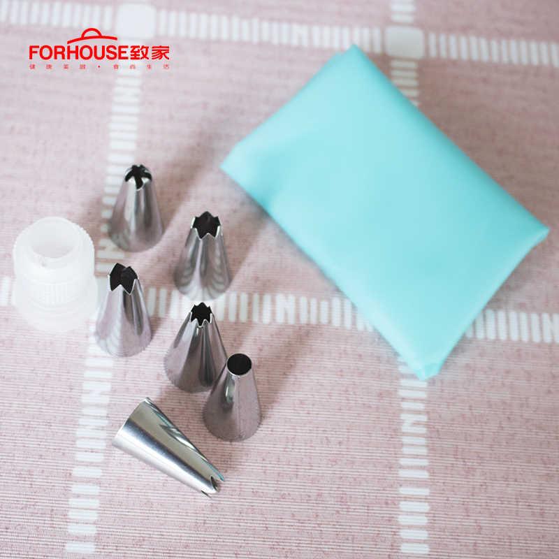 8 adet/takım silikon pasta torbası ipuçları mutfak DIY buzlanma boru krem yeniden kullanılabilir pasta torbası s meme seti kek dekorasyon araçları