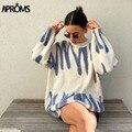 Aproms модные свитера с принтом в полоску женские зимние вязаные теплые пуловеры женские длинные Джемперы уличная Свободная верхняя одежда 2021