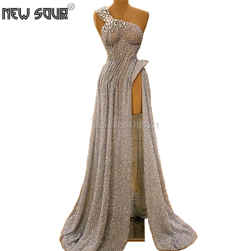 Middle East Sexy Split Side Slit Evening Prom Dresses African Couture New Formal Prom Dress Girl One Shoulder Party Gown Kaftans
