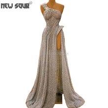 Nahen Osten Sexy Split Side Slit Abend Prom Kleider Afrikanische Couture Neue Formale Prom Kleid Mädchen Eine Schulter party Kleid kaftane