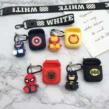 LOVERONY Cartoon Marvel Bluetooth Earphone Silicone Case For AirPods 2 1Headset Protection Cover With Pendant Cute Air pods Skin(China)