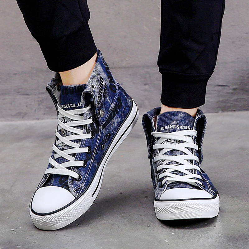 High Top Sneakers Men Tenis Canvas Shoes Vulcanize Shoes Men Lace Up Large Size 46 Denim Tenis Feminin Basketball Man Shoes Boys