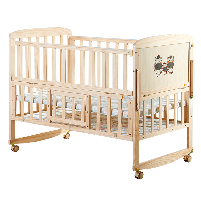 H1 Solid Wood Paint-free Crib Multi-function Newborn Baby Children's Bed BB Cradle Bed European Small Bed Stitching Big Bedside