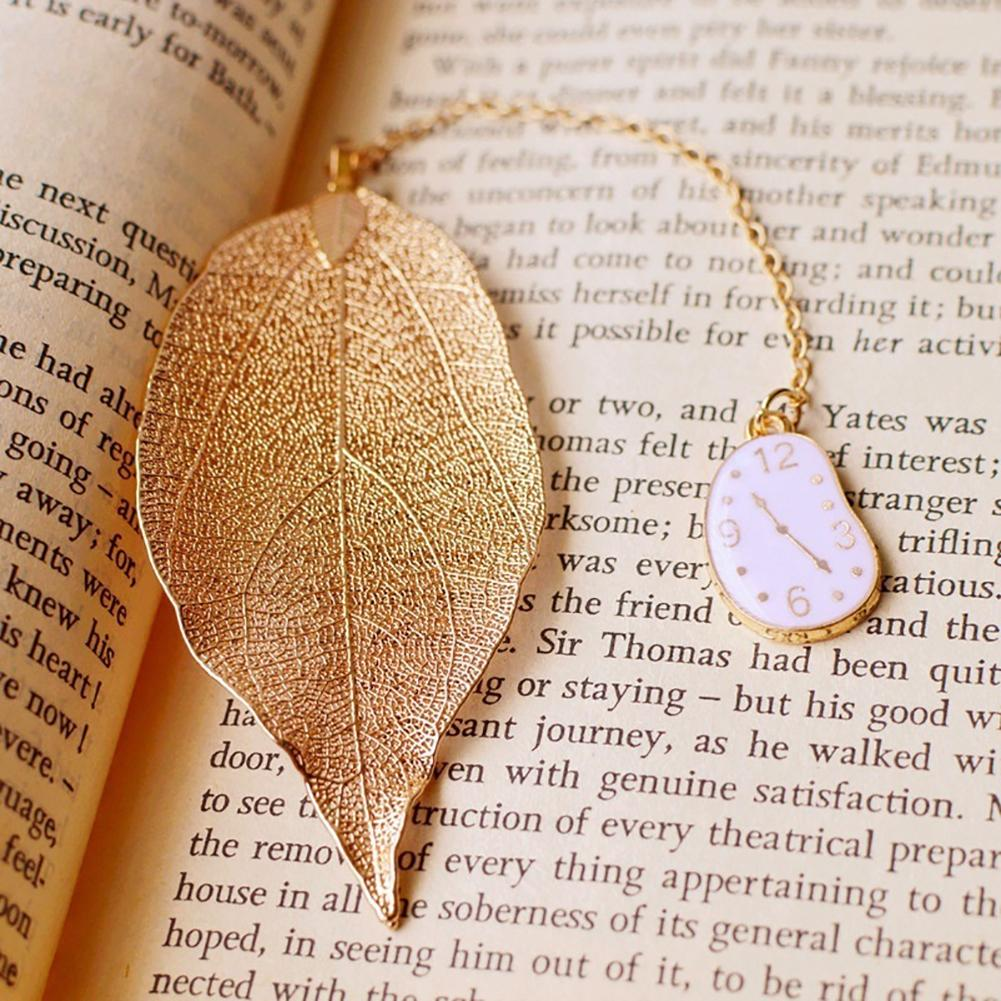 1 Pc/set Lovely Alice Rabbit Bookmarks Gold Color Leaf Texture Reading Pages Books Mark High-Grade Student Stationery