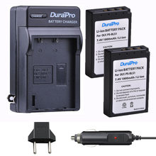 DuraPro – 2 batteries BLS1 PS + chargeur de voiture/mural pour Olympus Evolt, stylo
