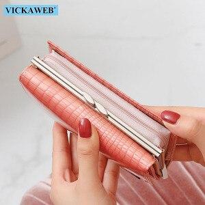 Image 4 - Vickaweb carteira feminina de couro legítimo, carteira curta de moda feminina, bolsa com fecho e zíper de jacaré