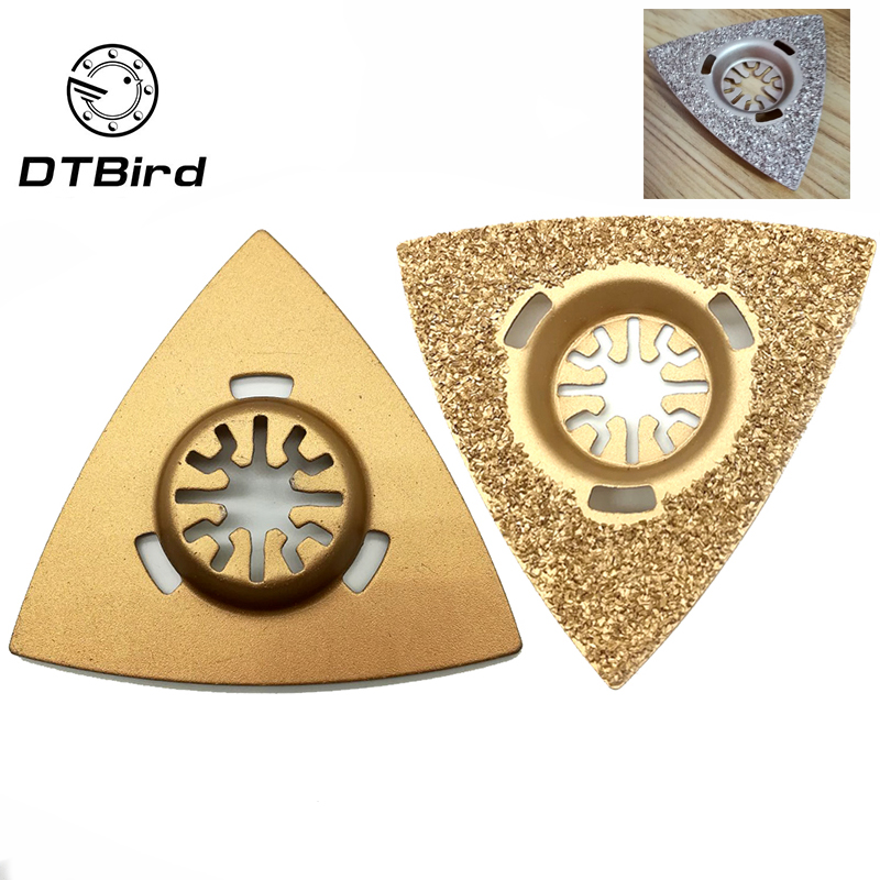1pc 80mm Golden Universal Oscillating MultiTool Blades Triangle Carbide Rasp For Renovator Power Grinding Stone Oscillating Tool