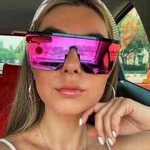 Odblaskowe czerwone kwadratowe damskie okulary przeciwsłoneczne 2020 płasko zakończony lustrzane okulary przeciwłoneczne dla mężczyzn odcienie mody śliczne designerskie okulary przeciwsłoneczne z tworzywa sztucznego