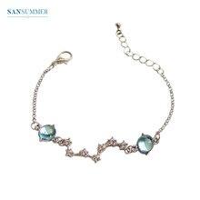 SANSUMMER 2019 New Bracelets Best Gift For The Latest Female Rhinestone Embedded Metal Bracelet Blue Gem Geometric 6238