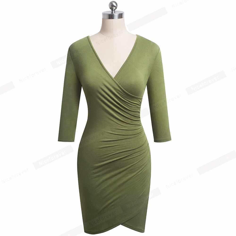 Хороший-Forever элегантный чистый цвет сексуальное V образным вырезом vestidos деловые вечерние женские облегающие карандаш женское платье B544