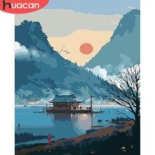 HUACAN – peinture à l'huile de paysage de montagne, peint à la main, décoration de maison, photos par numéros, dessin de lac, toile, cadeau d'art mural