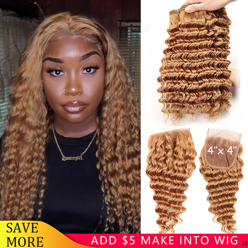 Honey Blonde Bundles With Closure #27 Brazilian Deep Wave Bundles With Closure Remy Human Hair Bundles With Closure No Tangle