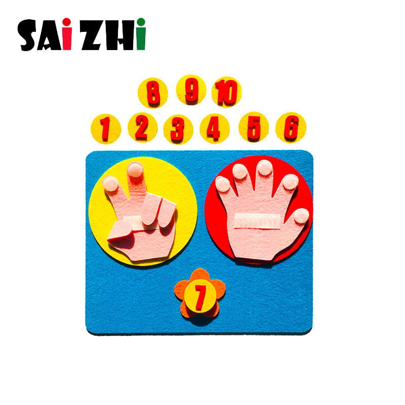 Saizhi Kids Math Finger Counting 1-10 Non Woven Toys Kindergarten Learning Mathematics Educational Toy Finger Number Teach Aid