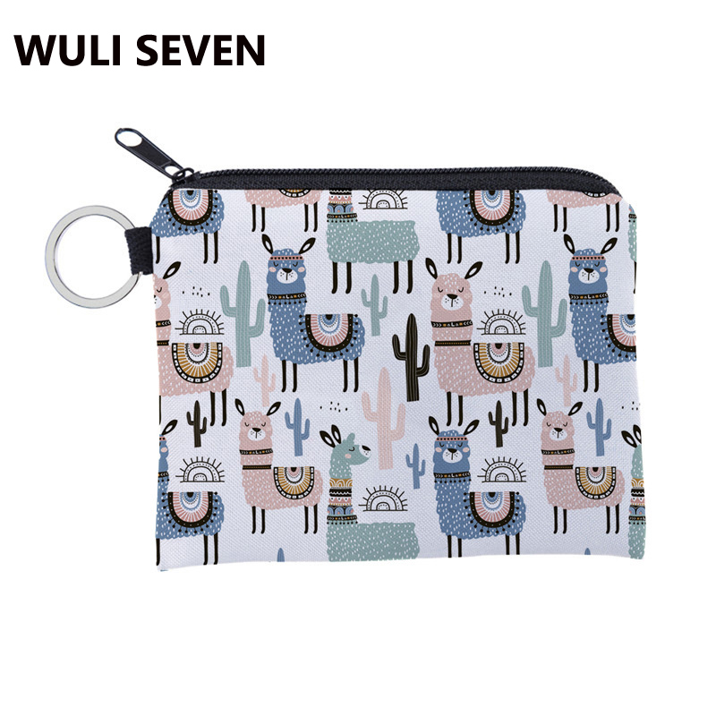 WULI SEVEN New Cute Coin Purse Alpaca Print Coin Bag Women Mini Wallet Children Zipper Pouch Gift Card Holder Mini Square Wallet