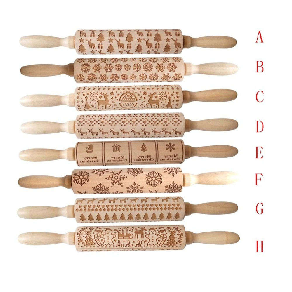 Textured Non-Stick Designs Wooden Embossed Rolling Pin for Cookies/Biscuit/Fondant Cake 6