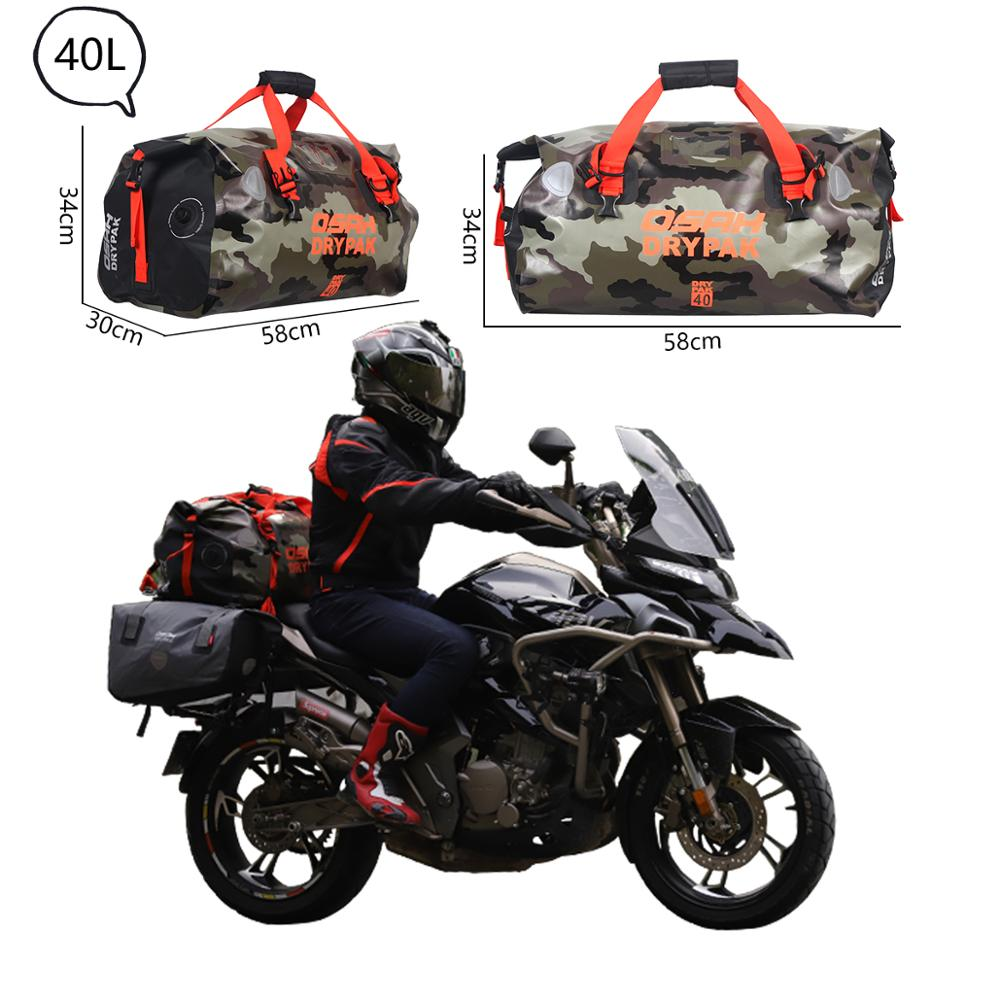 Waterproof Motorcycle Tail Bag OSAH Multifunction High Capacity Travel 500D PVC Waterproof Motorcycle Rear Seat Bag