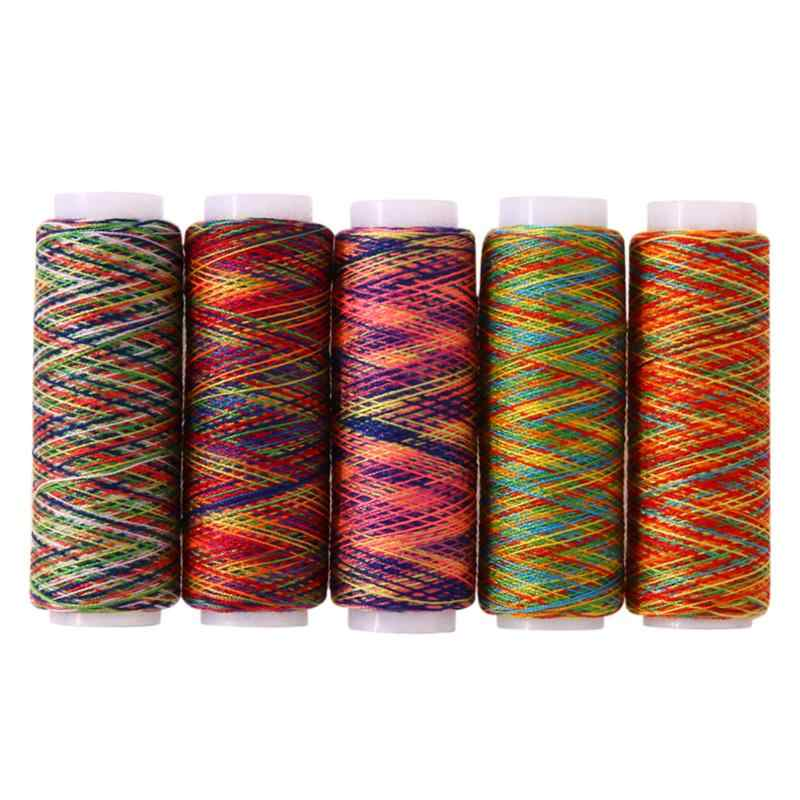 5pcs Rainbow Color Sewing Thread Polyester Home DIY Sewing Yarn Hand Quilting Embroidery Sewing Thread Knitting Accessories