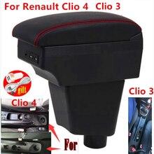 Подлокотник для Renault Clio 4, для Renault Clio 3 III IV, автомобильный подлокотник, автомобильные аксессуары, контейнер для хранения, подстаканник, пепел...