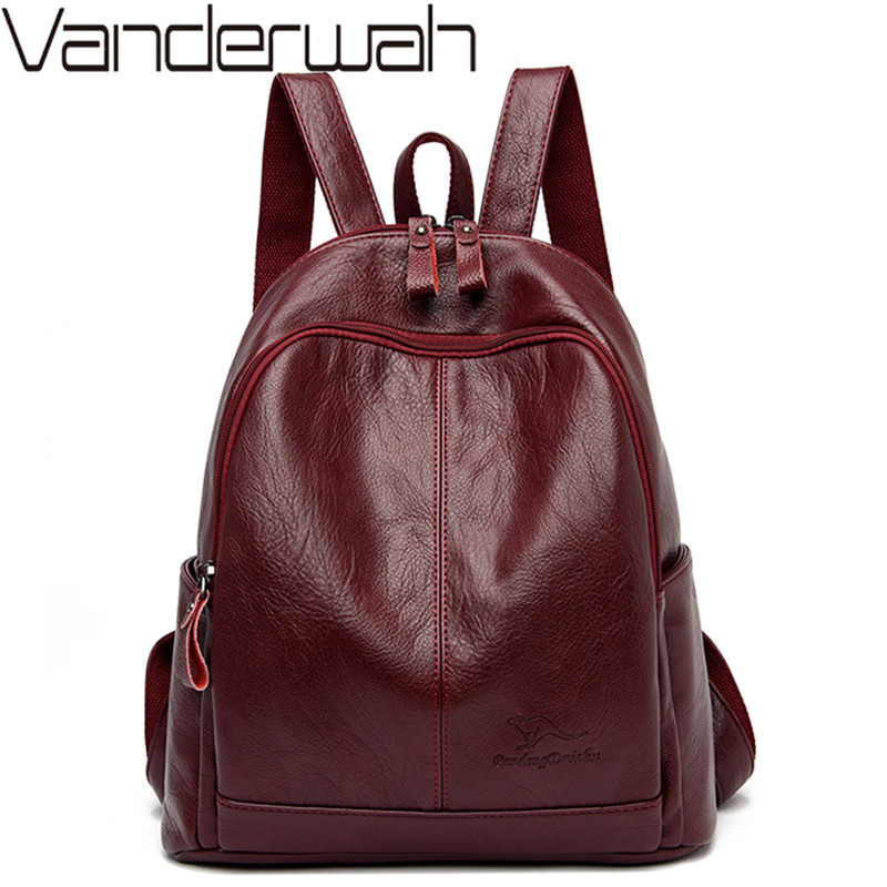 Women Soft Leather Backpacks High Quality Vintage Bagpack Sac School Bags For Girls Mochilas Casual Female Travel Shoulder Bags