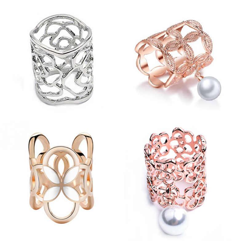 Baru Kedatangan Emas Warna Perak Bunga Syal Gesper Berongga Mawar Bunga Bros untuk Wanita Kristal Pemegang Syal Sutra Hadiah Perhiasan