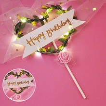 Светодиодный Цветок Свадебный торт Топпер Baby Shower для девочки Топпер для торта «С Днем Рождения» вечерние украшения поставщиков инструмент для украшения торта