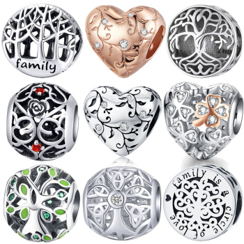 BISAER 925 Sterling Silver Tree Of Life Charm Clear Green CZ Beads Fit Bracelets DIY Jewelry Making Silver 925 Jewelry ECC919 tree of life 925 sterling silver tree of life family tree charms beads fit bisaer charm bracelet diy beads 925 silver jewelry