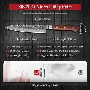 Image 2 - XINZUO 6 нож vg10 Дамасская сталь кухонные ножи для овощей Палисандр Ручка нержавеющая сталь нож для очистки овощей