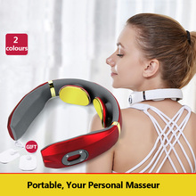 Morease Electric Pulse Neck Massager Cervical Traction Collar Therapy Pain Relief Guasha Acupuncture Cupping Patting Massage electric body massager slimming tens acupuncture therapy massage electronic pulse neck back foot pain relief patches slim care