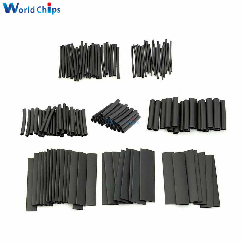 70pcs/lot Polyolefin 2:1 Shrinking Assorted Insulation Heat Shrink Tube Wire Cable Insulated Black Sleeving Heat Shrink Tubing