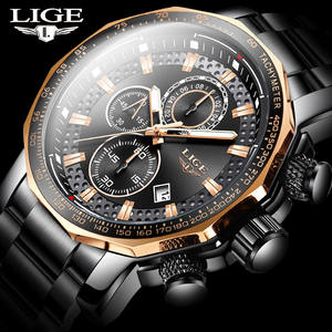 LIGE Mens Watches Chronograph Business Stainless-Steel Top-Brand Waterproof Fashion Luxury