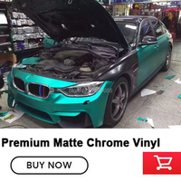 Highest quality (mint color ) matte chrome wrapping film matt chrome Wrapping Plastic wrap hot sale in Korea 1.52x20m/Roll