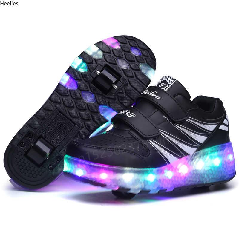 שני גלגלים זוהר סניקרס שחור ורוד Led אור רולר סקייט נעלי ילדי ילדים Led נעלי בני בנות נעלי אור עד יוניסקס