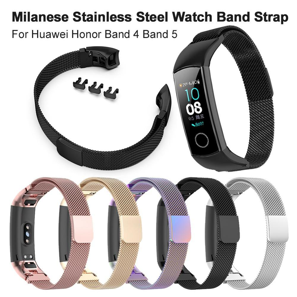 New Metal Milanese Loop Watch Strap For Huawei Honor Band 4 5 Magnetic Metal Bracelet For Honor Band 4 Band 5 Accessories Belt