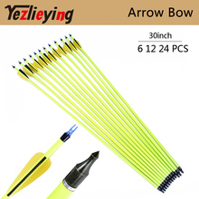 6/12/24PCS 30-Inch Yellow Carbon Arrow Spine 500 for  Bow and Arrow Recurve bow Hunting Archery цены