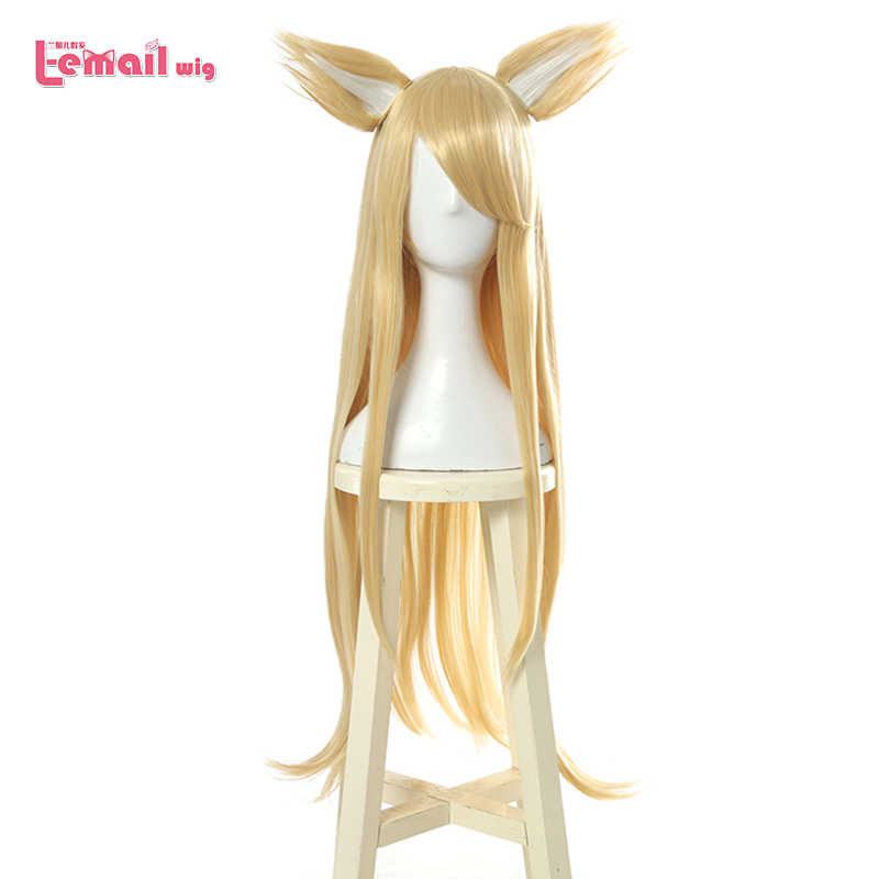 L-email Wig LoL K/DA Ahri Cosplay Wigs Blonde Long Straight KDA Cosplay Wig With Ears Halloween Heat Resistant Synthetic Hair
