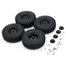 AX-8020 System 4PCS RC Climbing Car Tire Wheel 1.9in Climbing Rubber Tires with Aluminum Alloy Wheel Rim Beadlock Wheel Hub rc climbing 1 9 98mm tire