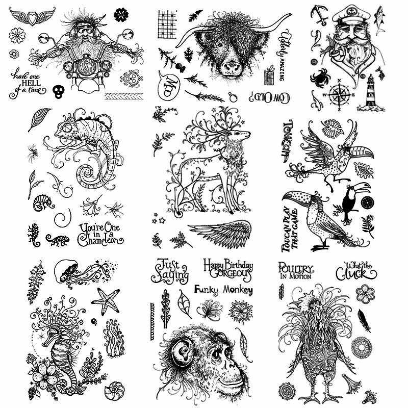 6x8.2inch Chicken Stag Deer Seahorse Cow Monkey Lizard Big Transparent Clear Stamps for DIY Scrapbooking Paper Cards Crafts 2019