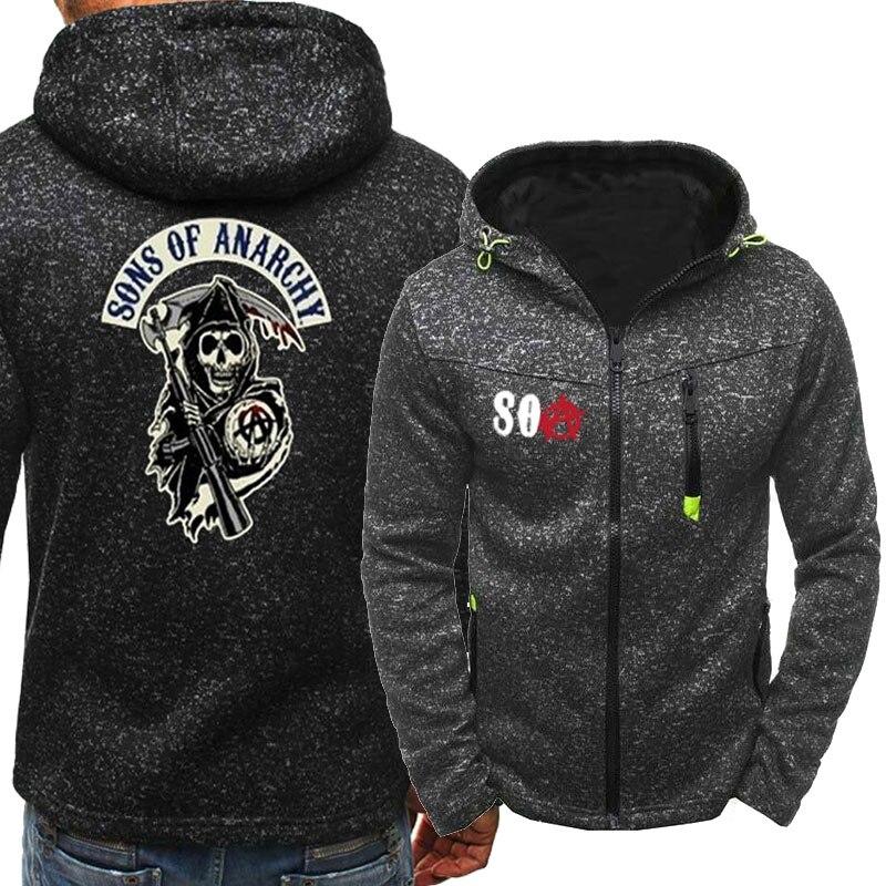 SOA Sons of Anarchy The Child Fashion SAMCRO Men Sportswear Zipper Hoodies Skull Male Casual Sweatshirt Fleece HipHop Warm Hoody
