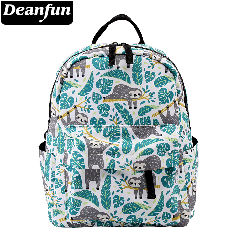 Deanfun Mini Backpacks For Girls 3D Printing Sloth Swanky Turtle Leaf School Shoulder Bag Teenagers MNSB-6
