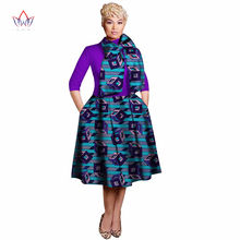 New Vintage African Women Patchwork Bow-knot A-line Dresses Ankara Clothes Bazin Rihce Print for WY3135-2