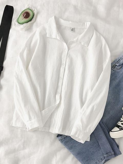 2020 New Spring White Shirts Women Casual Chic Turn-down Collar Korean Split Hem Blouses Office Ladies Leisure Soft Basic Blusas 1
