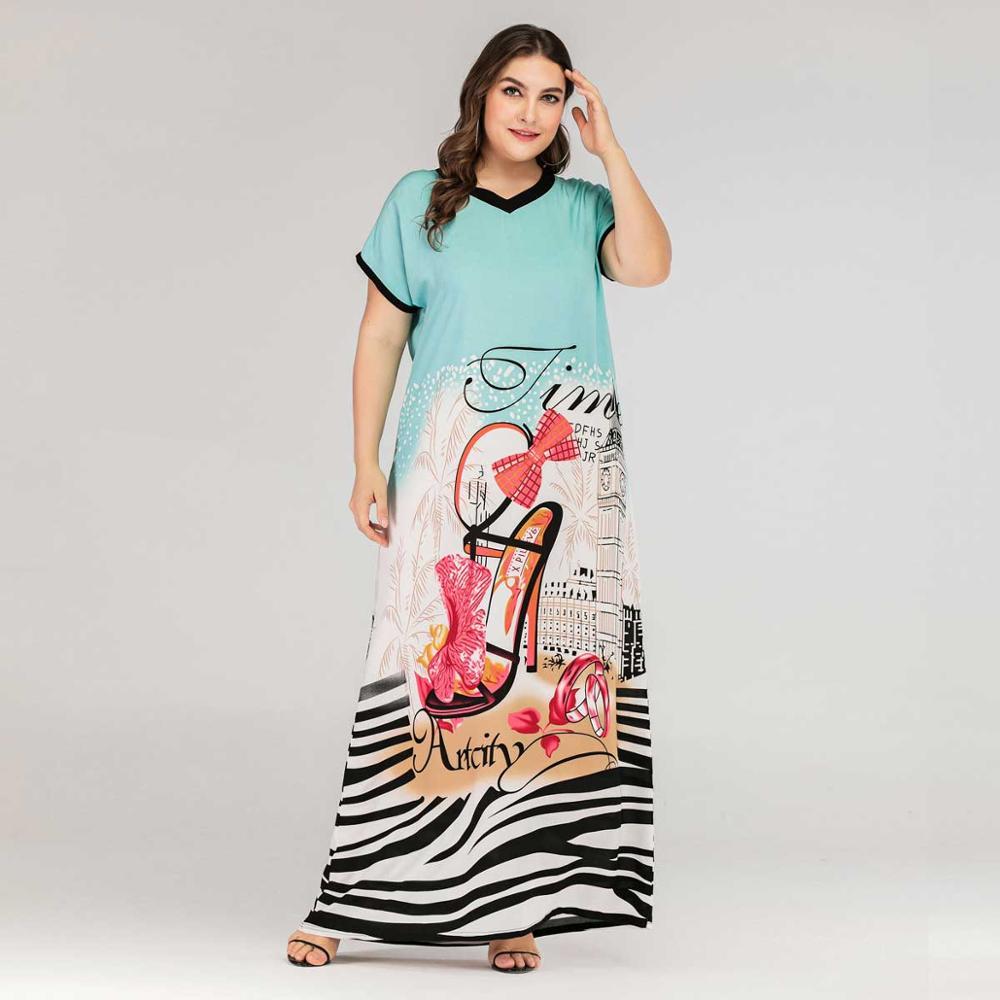2019 Plus Size Tribal Print Boho Dress Women Summer Tunic Short Sleeve Straight Shift Geometric Maxi Dresses VKDR1643