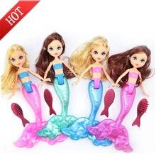 Boneca à prova dwaterproof água com pente brinquedos de banho bonecas acessórios menina favores crianças presentes de brinquedo aleatório 1 pc