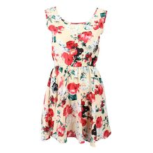 New Fashion Women New Sleeveless Round Neck Florals Print Pleated Dress Summer Clothing fashionable women s bowknot decorated sleeveless pink round neck dress